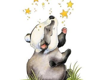 Sale Baby Badger Art, Badger Art Print, Badger Nursery Art, Little Badger, Nursery Art, Nursery Decor, Watercolor Nursery, Badger With Stars