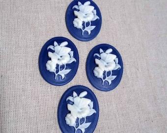 1 Camé bleu papillon bouquet de fleurs