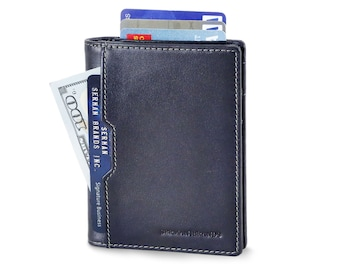 Travel Wallet RFID Blocking Bifold Slim Genuine Leather Thin Minimalist Front Pocket Wallets for Men Billfold - Luxe Blue 5.0
