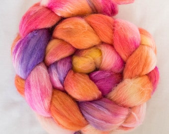 Hand dyed Merino top, Tussah Silk, hand spinning, Felting projects, felting material, hand dyed top, spinning braid,