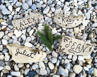 Personalized Driftwood Christmas Ornaments- Hand engraved custom, rustic wood ornament, family couple first Christmas, beach