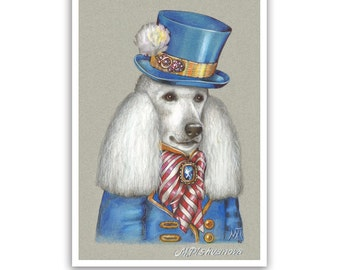 Poodle Art Print - the Dandy - Dogs in Clothes - Standard Poodle - Pet Kingdom by Maria Pishvanova