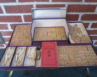 Vintage 1920s Unusual Mah Jongg Bone and Wood Game Made in San Francisco