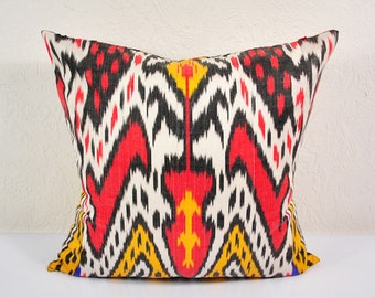 "Ikat Pillow, Colorful Caravan 20"" Ikat Pillow Cover - PA521-1AB3, Ikat throw pillows, Designer pillows, Decorative pillows, Accent pillows"