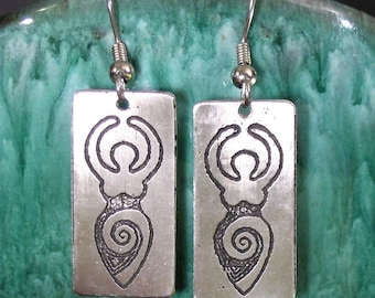Goddess Earrings, Etched Stainless Steel - Transformation, Wisdom, Power, Life, Gaia, Venus, Ancient Spiral