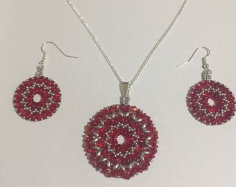 Red and silver beaded pendant and earrings