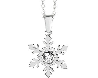 Medium Sterling Silver Snowflake Necklace