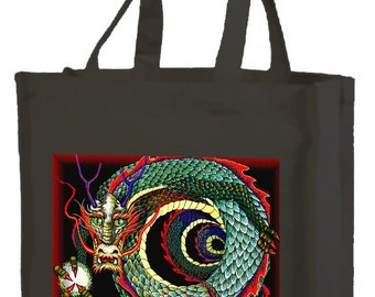 Curled Chinese Dragon Cotton Shopping Bag with gusset and long handles, 3 colour options