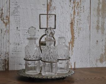 Vintage cut glass set - Condiment - Silver plated