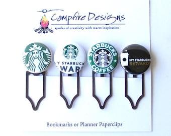 STARBUCKS Bookmark Clips or Starbucks Planner Paperclips-set of 4