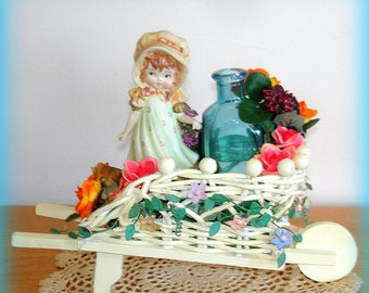 Flower Cart Hand Crafted Miniature Home Decor Lefton Girl Figurine Woven Wicker Cart With Faux Flowers Blue Glass Bottle