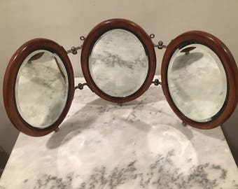 Antique 1900s Tri-Fold Shaving/Vanity Mirror