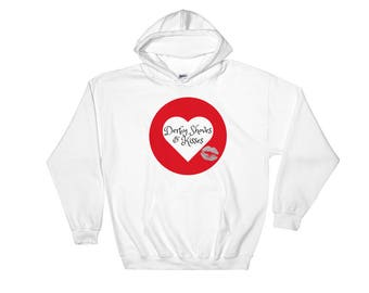 Roller Derby Shoves and Kisses Heart Lips Logo Hooded Sweatshirt Small Medium Large XL 2X 3X 4X