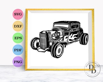 Hotrod, Classic American Car Silhouette, SVG & Dxf Cutting Files for Cricut and Silhouette Machines Includes eps, png, Instant Download