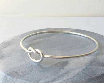 Silver Bangle. Sterling Silver Bracelet  - Bangle Silver Knot Bangle. Round bangle.