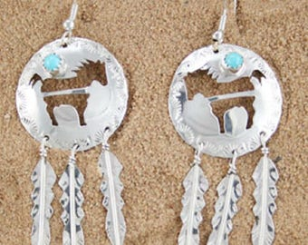 Round Horse Cut Out Earrings