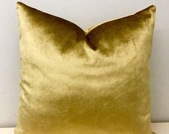 Gold Velvet Pillow Cover, Gold Pillows, Velvet Pillows, Decorative Pillows, Throw Pillows, Velvet Cushion, 18X18  20X20 Gold Velvet Pillows