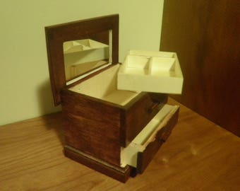 Wooden Jewelry Box  -  Mahogany Stain  -  Fixed Mirror