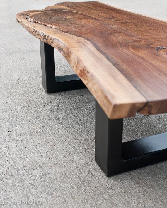 Coffee Table Teak Live Edge: Live Edge Walnut Coffee Table Steel Base Nakashims Style
