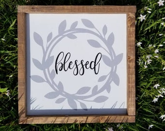 Blessed or Family Wreath Wooden Sign 12x12