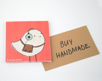 """STICKY NOTEPAD: """"Ethan the Hipster Bird"""" featuring a hipster bird with retro headphones and vintage leather satchel"""