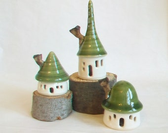 Garden Fairy Houses -Set of 3- White Houses with Green Roofs - Holiday Decoration - Garden Houses - Ready to Ship