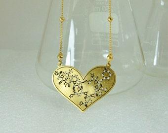 Oxytocin molecule heart necklace -  psychology - chemistry - science - 24 karat gold plated pendant