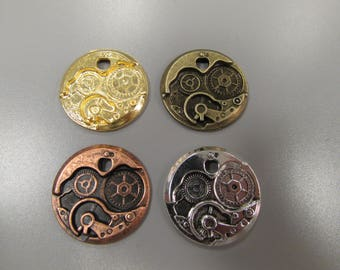 Steampunk Cog Watch part charm pendant 5 colours to choose