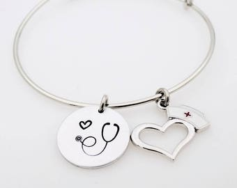 Custom Nurse gift, Registered nurse, RN gift for nursing student, college nurse, L.P.N., C.R.N.A., customize this wrap bracelet bangle charm