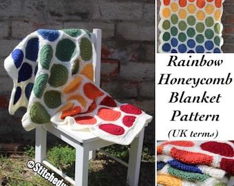 CROCHET PATTERN (UK terms) - Rainbow Honeycomb pattern,  crochet pattern, Afghan pattern, blanket pattern, throw pattern, baby blanket