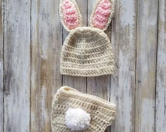 Bunny Hat & Diaper Cover   Crochet Baby Bunny Hat- Newborn Bunny Costume, Easter Bunny Costume, Baby Bunny Costume, Woodland Nursery Theme