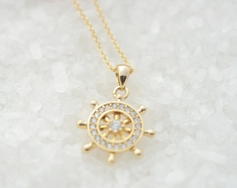 Ship Wheel Necklace, Helm Necklace, Nautical Necklace, Best Friends Jewelry, Nautical Jewelry, Ocean Beach Sea Jewelry, Travel Jewelry Gift
