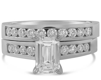 Emerald cut diamond engagement ring & band with channel set round diamonds E14
