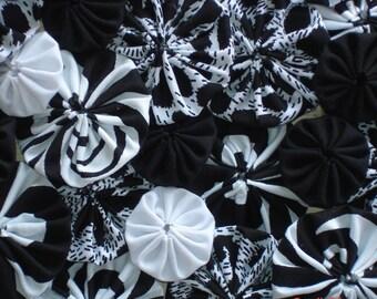 Animal Wildlife Zebra Black White Print Yo Yo Suffolk Puff Handmade Fabric Embellishment Quilt Trim