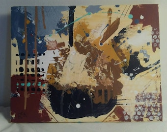 """Small original abstract painting neutral colors 9""""x14"""" by R. Adams"""