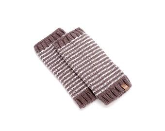Stripe Legwarmers - Taupe