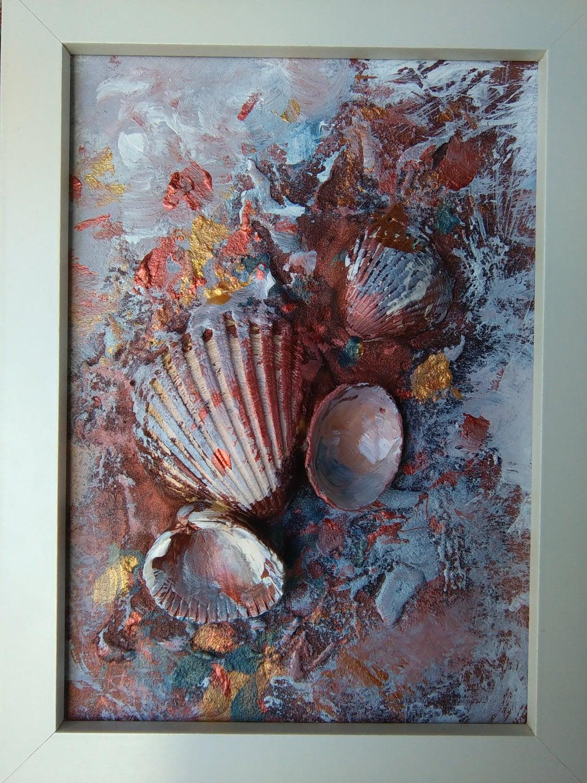 Muschel Malerei Original Gemälde kleine abstrakte Malerei