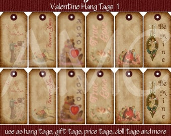 Primitive Vintage Valentine Printable Hang Tags for Scrapbooking Art