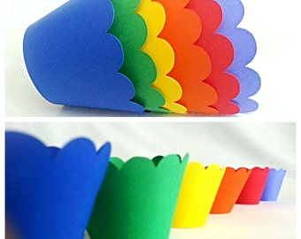 24 Count Rainbow cupcake wrappers! scalloped cupcake wrapper blue, green, yellow, orange, red, and purple scalloped cupcake wrappers