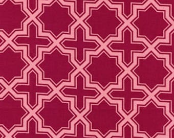 Joel Dewberry Fabric, Modern Meadow, Napsack in Berry Red cotton quilting fabric - FAT QUARTER