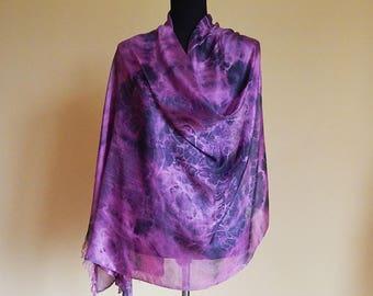Pink grey hand painted silk scarf, unique handmade scarves, silk painting, batik silk scarf.