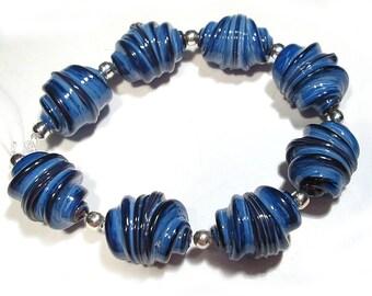 Mountain Blue Whirled Handmade Glass Lampwork Beads