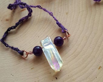 Arcanity: Portulaca Necklace - Angel Quartz with Amethyst beads, copper, textured handspun yarn