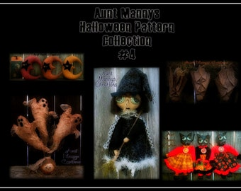 Primitive Halloween Pattern Collection #4 Lot of 5 Patterns! Buy More Pay Less!
