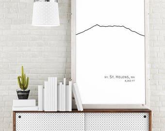 Mt Mount St Helens Washington Mountain Art Volcano Mountain Decor Black and White Minimalist Poster Downloadable Printable Large Wall Art