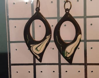 Patterned Earrings with Copper/Bronze Shepard's Hook fittings