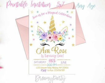 Unicorn Birthday Invitation, Unicorn First Birthday, Floral Unicorn Invitation, Rainbow Unicorn, Floral Invitation, Printable UF201