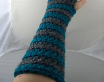 Teal and Gray Striped Crocheted Arm Warmers (size S-M) (SWG-AW-SJ16)