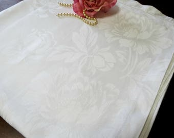 White Vintage Damask Tablecloth, 70 x 70, Rose Pattern, All Occasion Tablecloth, Hemstitching,  Vintage Linens
