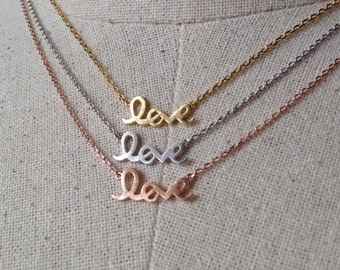 Love Necklace, 14k Gold plated/Rose Gold/Silver, Dainty Love Necklace